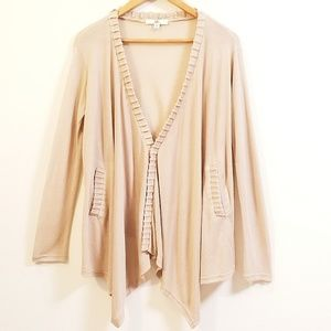 YA LA Drape Tan Sweater Cardigan